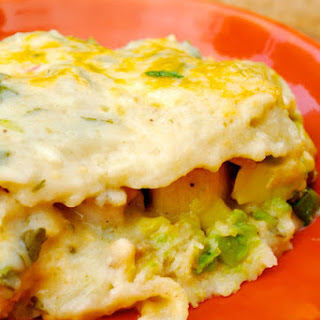 Creamy Avocado Chicken Enchilada Casserole