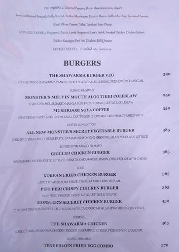 Food Menu 7 of Monster's Cafe, DLF Phase 4, Gurgaon