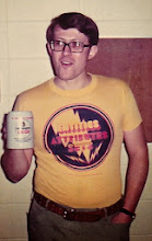 Photo: Gerry Gabel holding a Michigan Union beer mug at an MTS Workshop in Ann Arbor, probably 1976