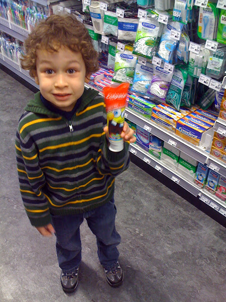 Photo: Harrison found a toothpaste with a character he likes