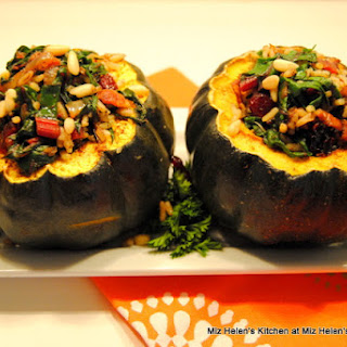 Roasted Acorn Squash with Swiss Chard and Wild Rice
