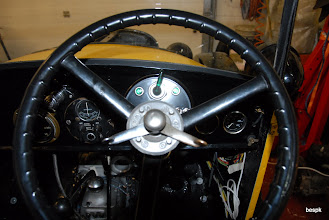 Photo: the driver's eye view, with the supplementary dash panel