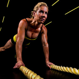 Bring it! by Carel Van Vuuren - Sports & Fitness Fitness ( training, body, girl, fitness, woman, blond, muscle, exercise, train, gym, yellow, crossfit )