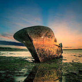 Shipwrecks by Ade Irgha - Transportation Boats ( blue sky, shipwrecks, waterscapes, abandoned )