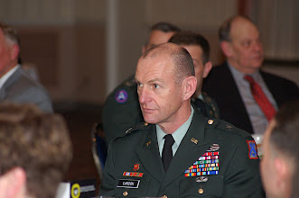 Photo: CGSC Deputy Commandant Brig. Gen. Ed Cardon at the National Security Roundtable Dinner, March 16 at Fort Leavenworth's Frontier Conference Center.