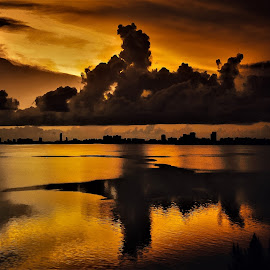 Bay Sunrise by Raúl Corró - Landscapes Waterscapes ( waterscape, reflections, waterfront, cloudscape, cityscape, skyscape, bay, clouds, skyline, water,  )