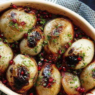 Stuffed Onions with Spiced Lamb and Pomegranate recipe | Epicurious.com.