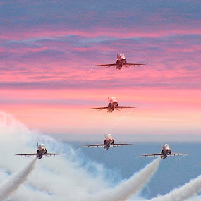 Res Arrows at Dusk by Steve Bampton - Transportation Airplanes ( flight, red arrows, aircraft, air display, jets )