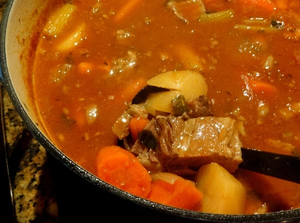 Simmer the stew, covered, on low simmer for about an hour, then add the...