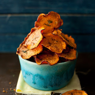 Orange Sweet Potato Baked Chips with Thyme.