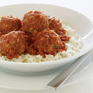 Meatballs in Tomato-Serrano Chile Sauce.