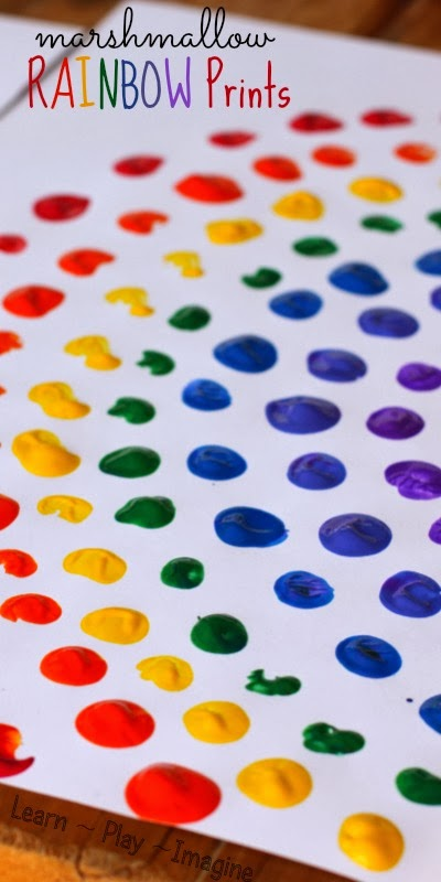 Rainbow Art Ideas, Marshmallow Rainbow Prints