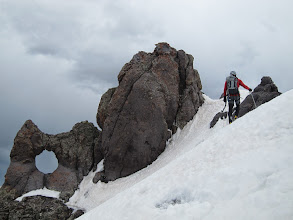 "Photo: James near the summit block and the ""handle""."
