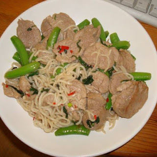 Pork with Sugar Snap Peas, Chilli & Mint