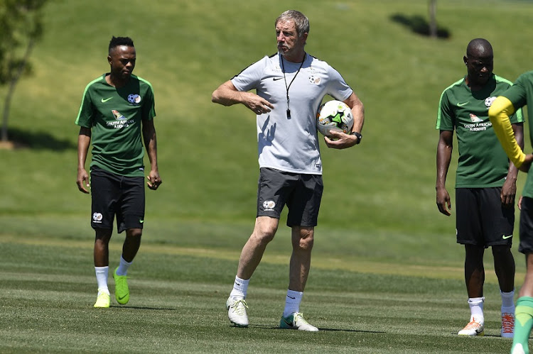 South African national mens soccer team coach Stuart Baxter with Thulani Seraro and Hlompho Kekana during the South African national mens soccer team training session at Steyn City School on November 13, 2018 in Johannesburg, South Africa.