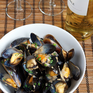 Steamed Mussels with Ginger and Shallots.