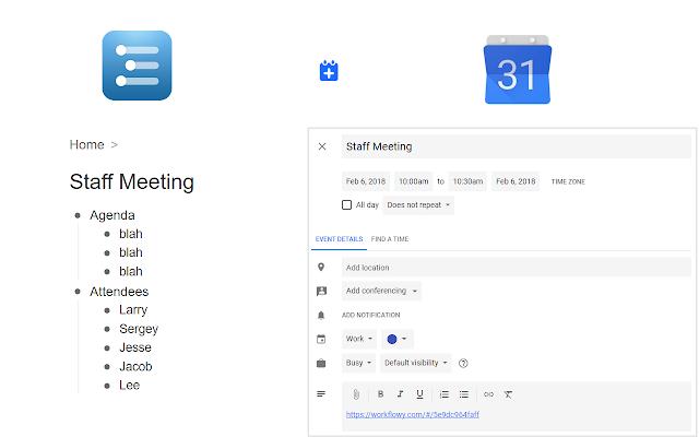 WorkFlowy to Google Calendar