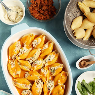 Cauliflower Stuffed Shells with Butternut Squash Sauce