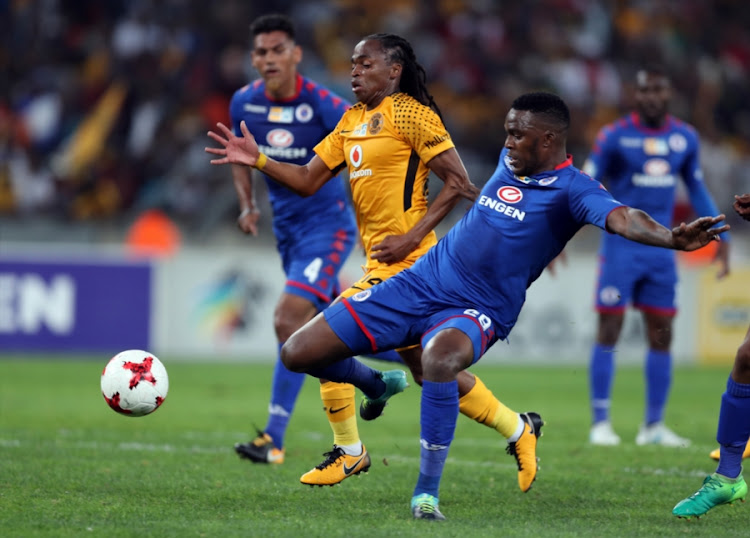Morgan Gould of SuperSport United tackling Siphiwe Tshabalala of Kaizer Chiefs during the MTN 8 Quarter Final between Kaizer Chiefs and SuperSport United at Moses Mabhida Stadium on August 12, 2017 in Durban, South Africa.