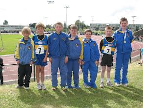 Photo: Moycarkey Borris competitors at the National Community Games Finals 2011. L to R - Adam O'Dwyer (U/10 200m), Rhys Shelly (Boys U/12 Relay), David Ryan (Boys U/12 100m & Relay), Sean Mocker (Boys U/12 Relay), Jack Ryan (Boys U/12 Relay), Oran Mulhall (Boys U/12 Relay) & Daniel Ryan (Boys U/14 80m Hurdles).