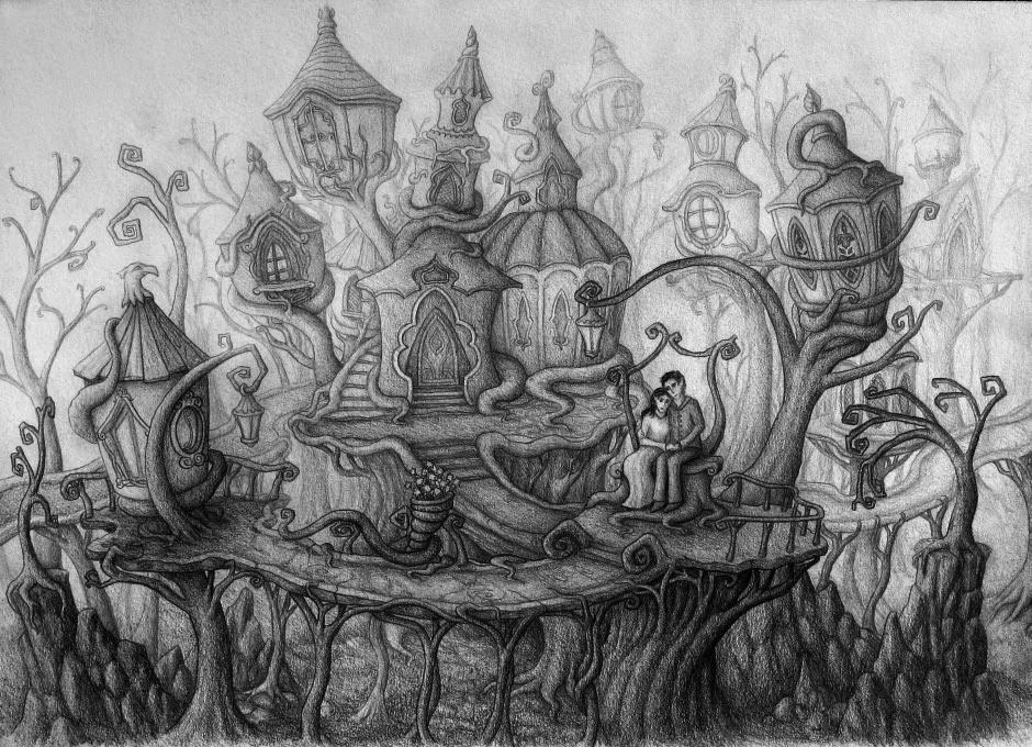 """Photo: """"Villaggio Elfico"""" pencil drawing  Author: Gaston Nicolas Alanis"""