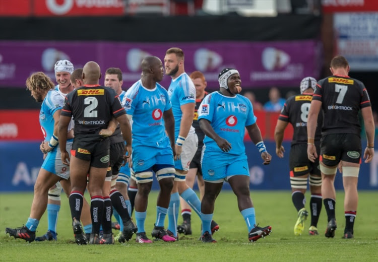 Trevor Nyakane of the Vodacom Bulls could not contain his emotion after successfully disrupting the DHL Stormers scrum during the Super Rugby match between Vodacom Bulls and DHL Stormers at Loftus Versfeld on March 31, 2018 in Pretoria, South Africa.