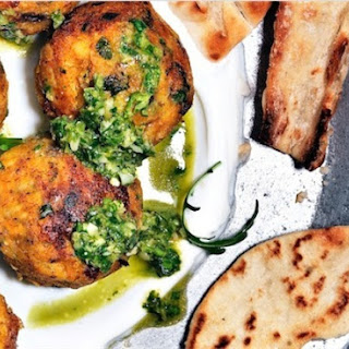 Butternut Squash Falafels With Spicy Zhoug Sauce.