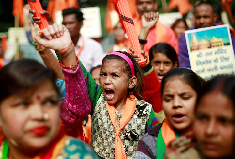 People shout slogans during a demonstration organised by the Hindu hardline group United Hindu Front to mark the 26th anniversary of the razing of a 16th-century mosque Ayodhya, New Delhi, India, December 6 2018. Picture: REUTERS/ADNAN ABIDI