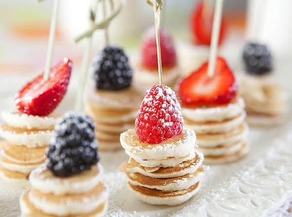 Bitty Pancakes With A Bite Of Fruit! Soooo Sweet!