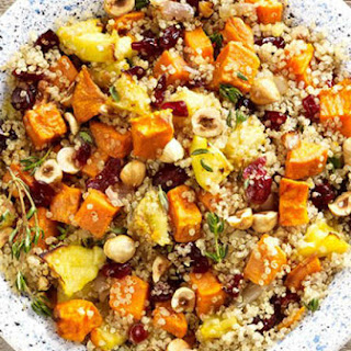 Quinoa Stuffing with Sweet Potatoes, Apples, and Hazelnut