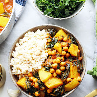 Spicy Chickpea Kale and Potato Curry.