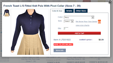 """Photo: It is easy to find the right size using the """"Alva Kids"""" feature."""