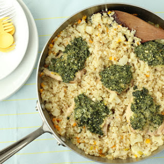 One-Pan Pesto Chicken and Brown Rice.