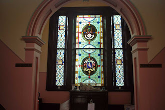 Photo: Stained glass panels in entry stairway.  These panels were a gift from the Pope.