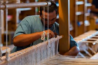 Photo: Working on a loom at Tierra Wools, Los Ojos
