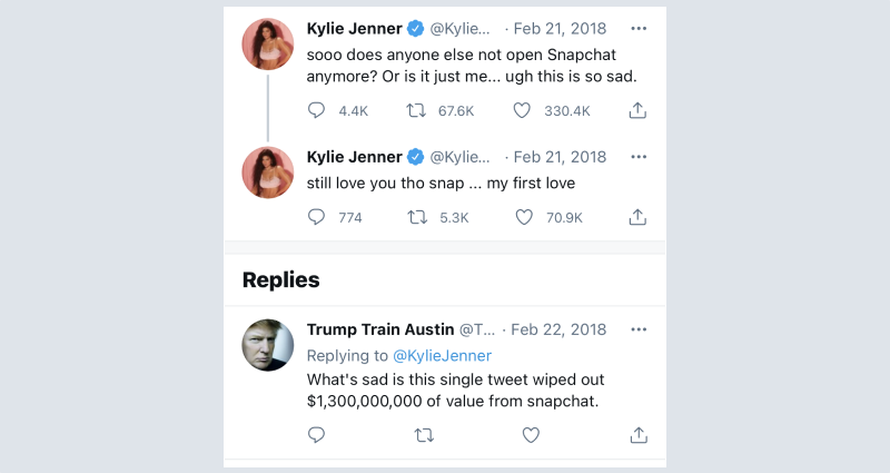 Kylie Jenner's tweet about Snapchat