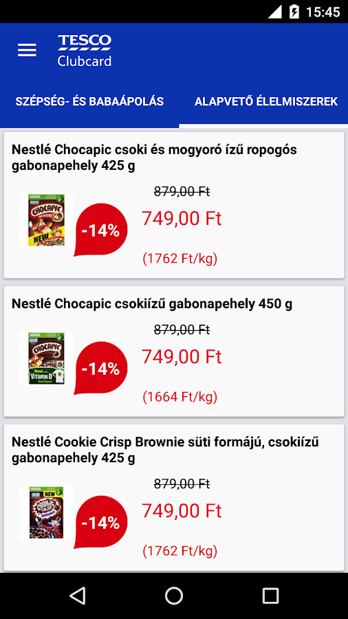 Tesco Clubcard Hungary- screenshot
