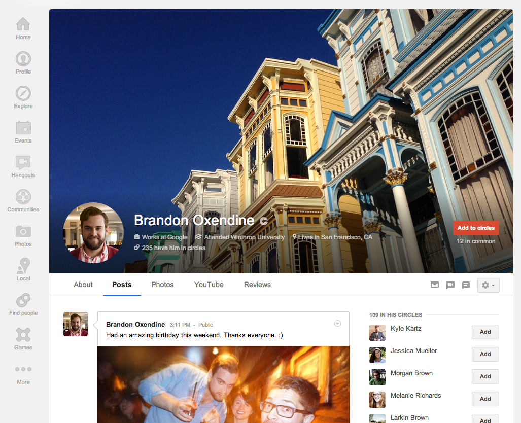 Photo: Google+ Profiles now include bigger cover photos (up to 2120px by 1192px).