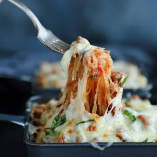 Cheesy Spaghetti Squash Skillet - Keto & Low Carb.