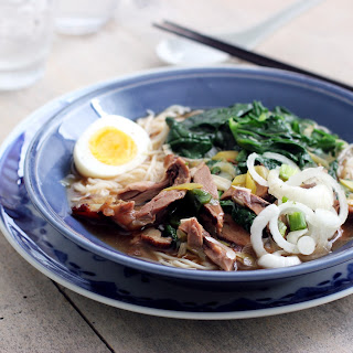 Smoked Duck, Spinach and Noodle Soup.
