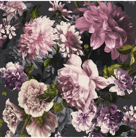 GranDeco Secret Garden A43002 Tapet med stort blommigt motiv, Svart/Rosa