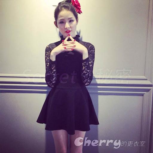 韓版小立領修身蕾絲長袖拼接打底氣質連身裙