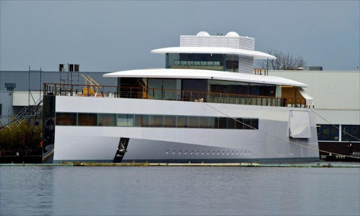 A file photo taken on October 29, 2012 shows the yacht ordered by Apple's late founder Steve Jobs and designed by French Philippe Starck's Ubik company at the De Vries shipyard in Aalsmeer.