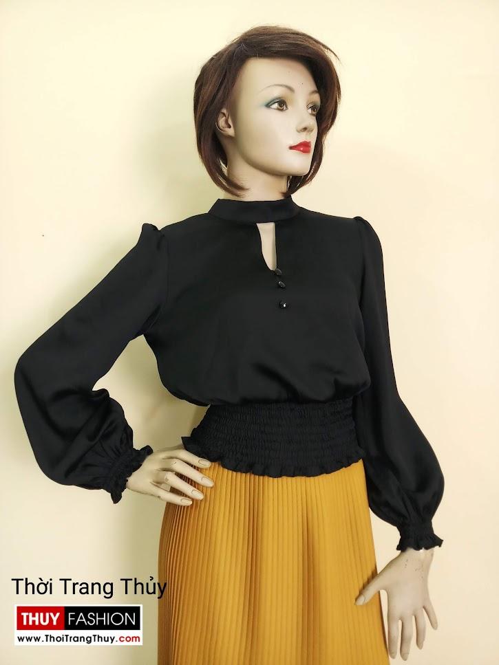 Áo nữ tay bồng nhún chun eo vải lụa đen V672 sai gòn
