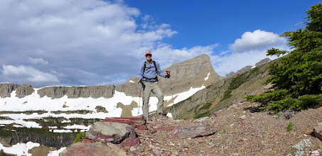 Photo: Selfie with Triple Divide in background - horizon is the Continental Divide