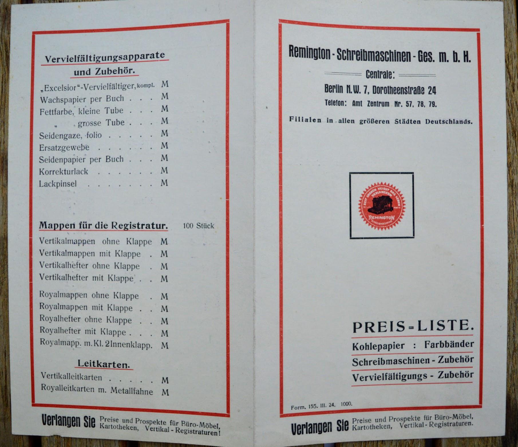 Remington Portable - Preis-Liste