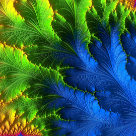 Colorful Leaf by Capucino Julio - Illustration Abstract & Patterns ( red, blue, colorful, green, leaf, fractal )