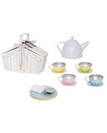 IN STOCK 2021-Picnic basket tin tea set pastell