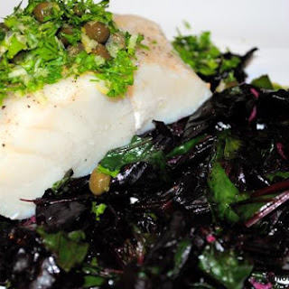 Cod With Gremolata, Capers and Sauteed Beet Greens