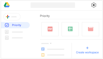 "Find ""Priority"" in the left column, and the ""Create workspace"" tile on the right."